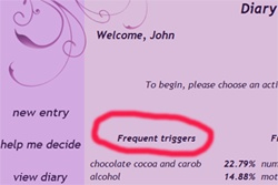 preview frequent triggers in migraine diary